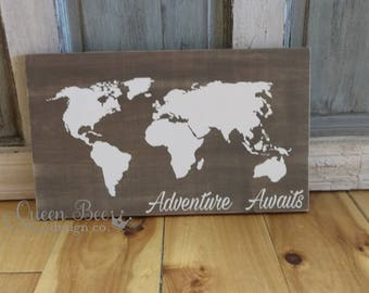 Adventure Awaits World Map.Rustic Wood Sign.Kids Room Wall Art.Kids Room Decor.Story Book Theme Sign.Travel Sign.Explore Sign.Welcome Gift