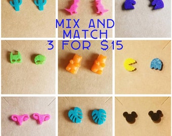 Mix and match earrings, cactus earrings, monstera earrings, unicorn earrings, uterus, batman and robin, gummy bear, video games, dinosaur