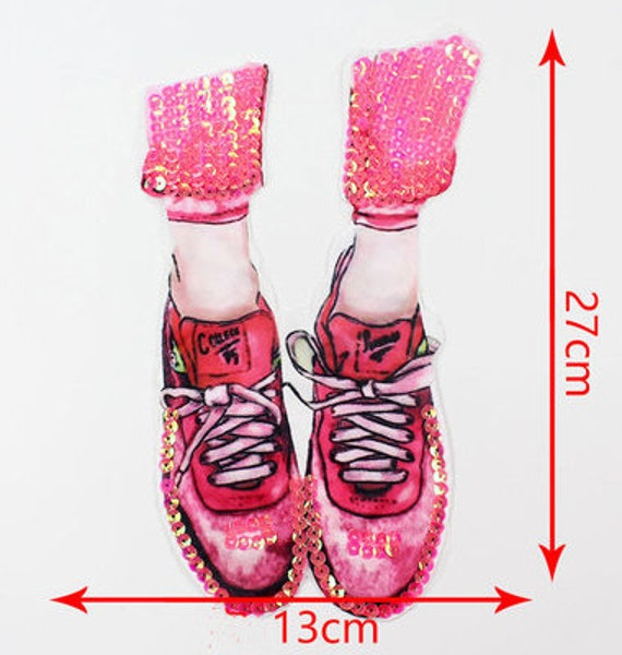 91f01fd1b17c4 BUY 3 GET 1 FREE Shoes Sequined Applique Patch Sequins Patch Applique Sew  On Patches Supplies for kids decoration patch P1620