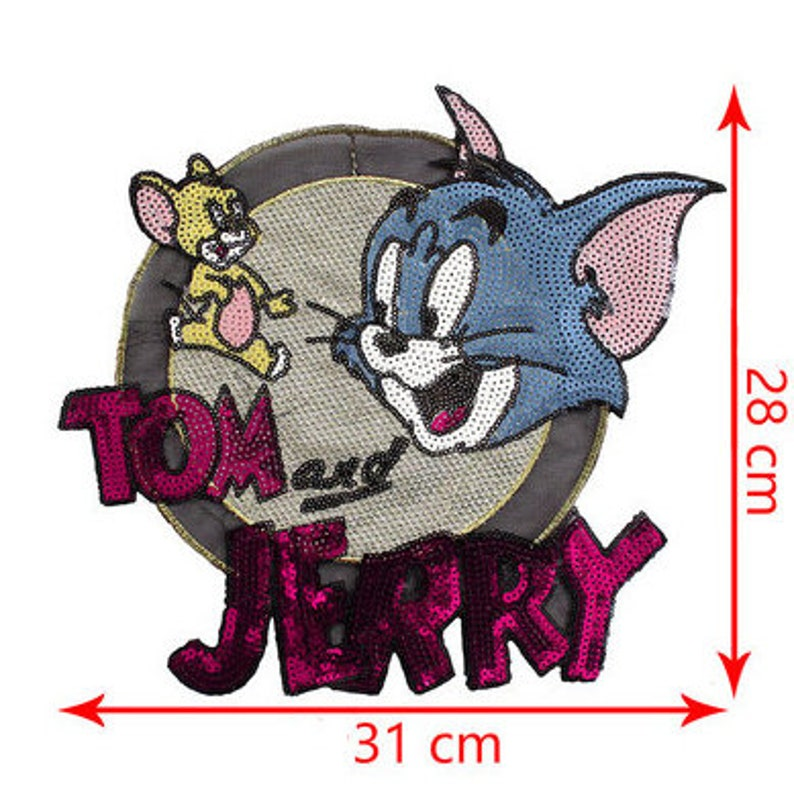 0bdfb26745272 BUY 3 GET 1 FREE Sequins Cartoon Patch Supplies for Coat Cat and Mouse  Sequined Applique Patches Paillette PatchT-Shirt P1287