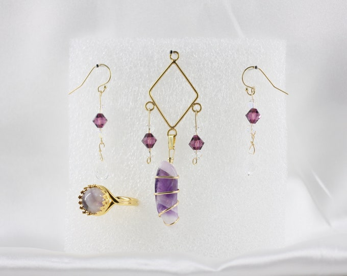 Amethyst - Pendant Set - Free Ring