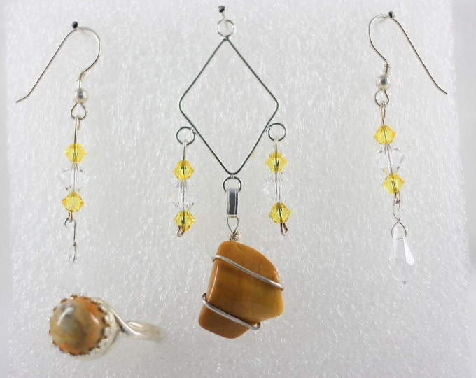 Yellow Jasper - Pendant Set - Free Ring