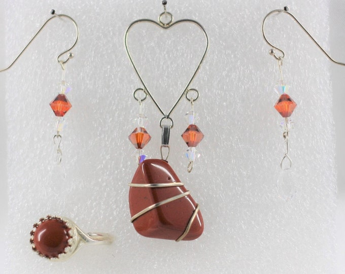 Red Jasper - Pendant Set - Free Ring