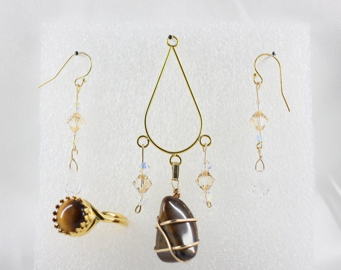 Tiger's Eye - Pendant Set - Free Ring