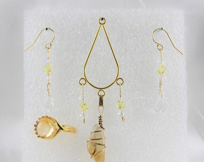 Citrine - Pendant Set - Free Ring