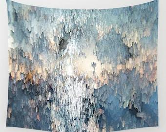Snow angel,Wall Tapestry,Wall Décor,photo wall tapestry,photography,abstract tapestry,watercolor,boho decor,photo wall decor,blue, white