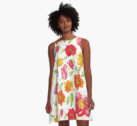 Blumen A Linie Kleid Aquarell Blumen Kleid Pastell Bunte Etsy