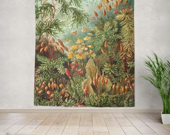 Vintage botanical tapestry, nature wall tapestry,rainforest tapestry, jungle tapestry, botanical wall hanging,large wall tapestry,E.Haeckel