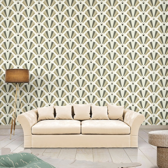 Art Deco Wallpaper Peel And Stick Wallpapergeometric Etsy