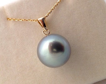 c3552e434707 Free Shipping! LARGE Tahitian South Sea Pearl 13mm AAA+ set on a 9k Solid  Yellow Gold Bell Cup Bail Pendant   Diamond Cut Cable Chain