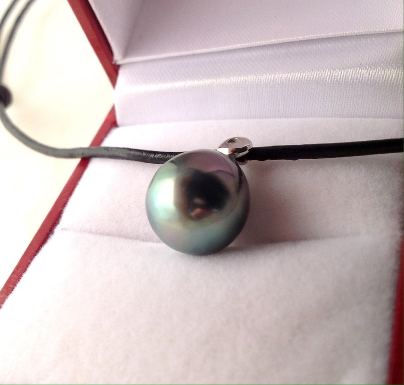 Tahitian Pearl Leather Cord AAA Cubic Zirconia South Sea Pearl 925 Sterling Silver 11mm x 12.5mm Tahitian Pearl Necklace Pendant