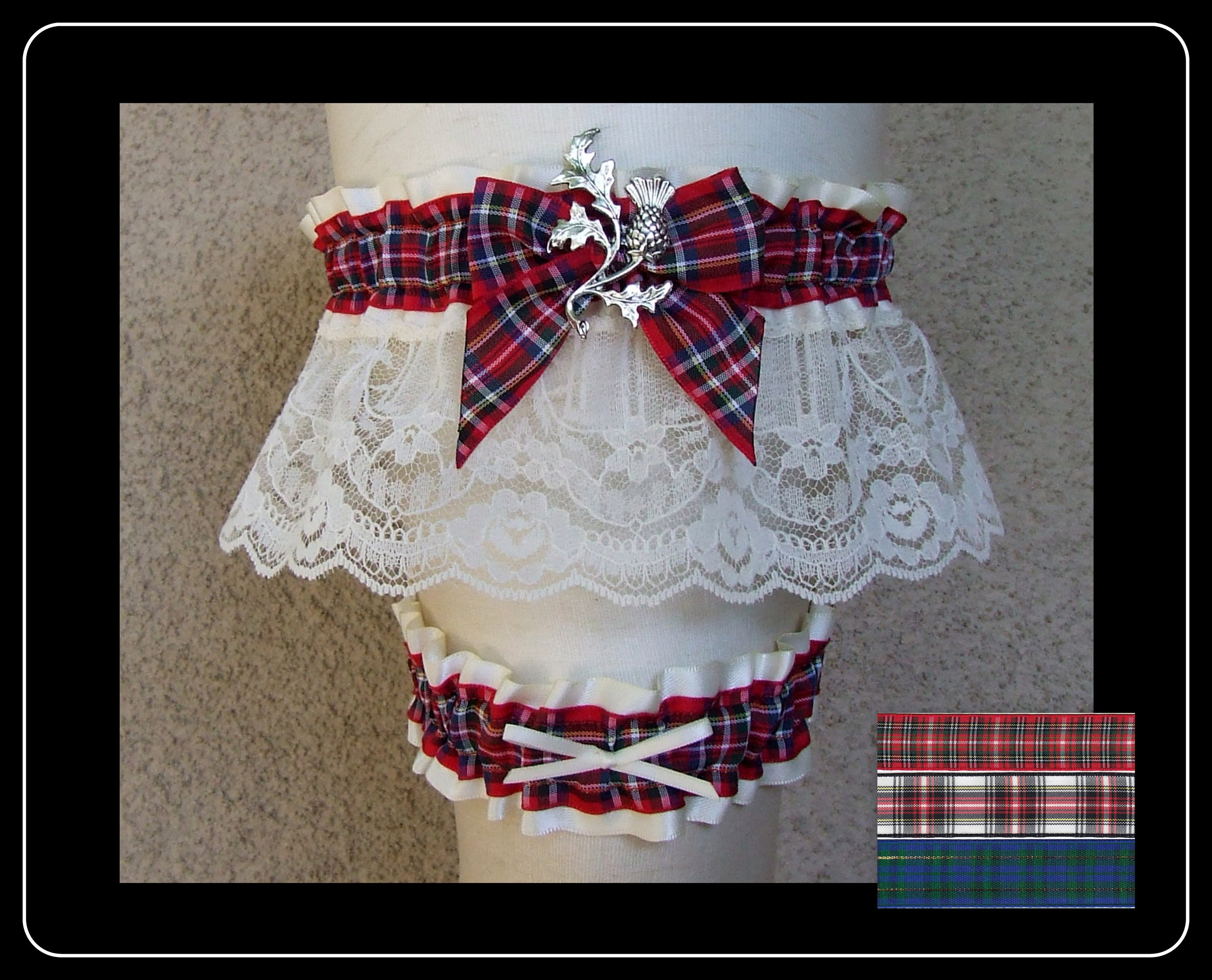 Firefighter Garter or Set in Red /& Black with your choice of charms  for Wedding or Bridal Shower Gift