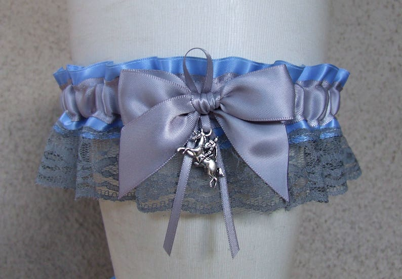 Fairytale Princess Garter Set in cornflower blue and silver with knight and crown charms  customizable for your fairy tale wedding or prom