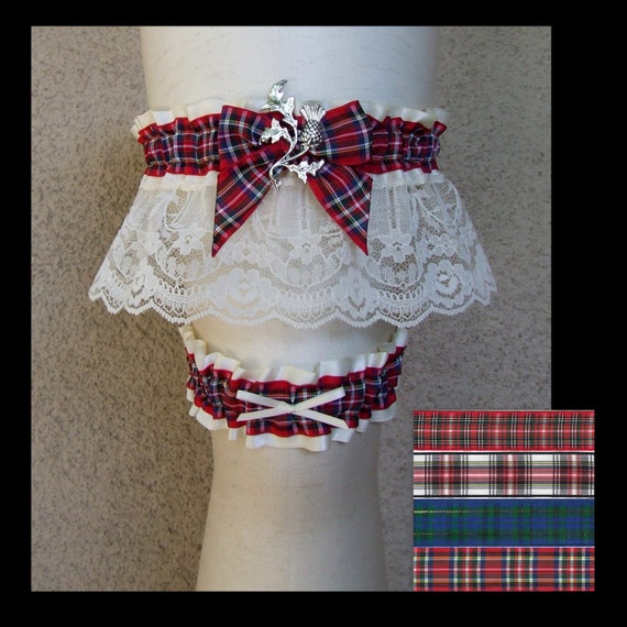 Scottish Tartan Garter Set Customized With Red Or Navy