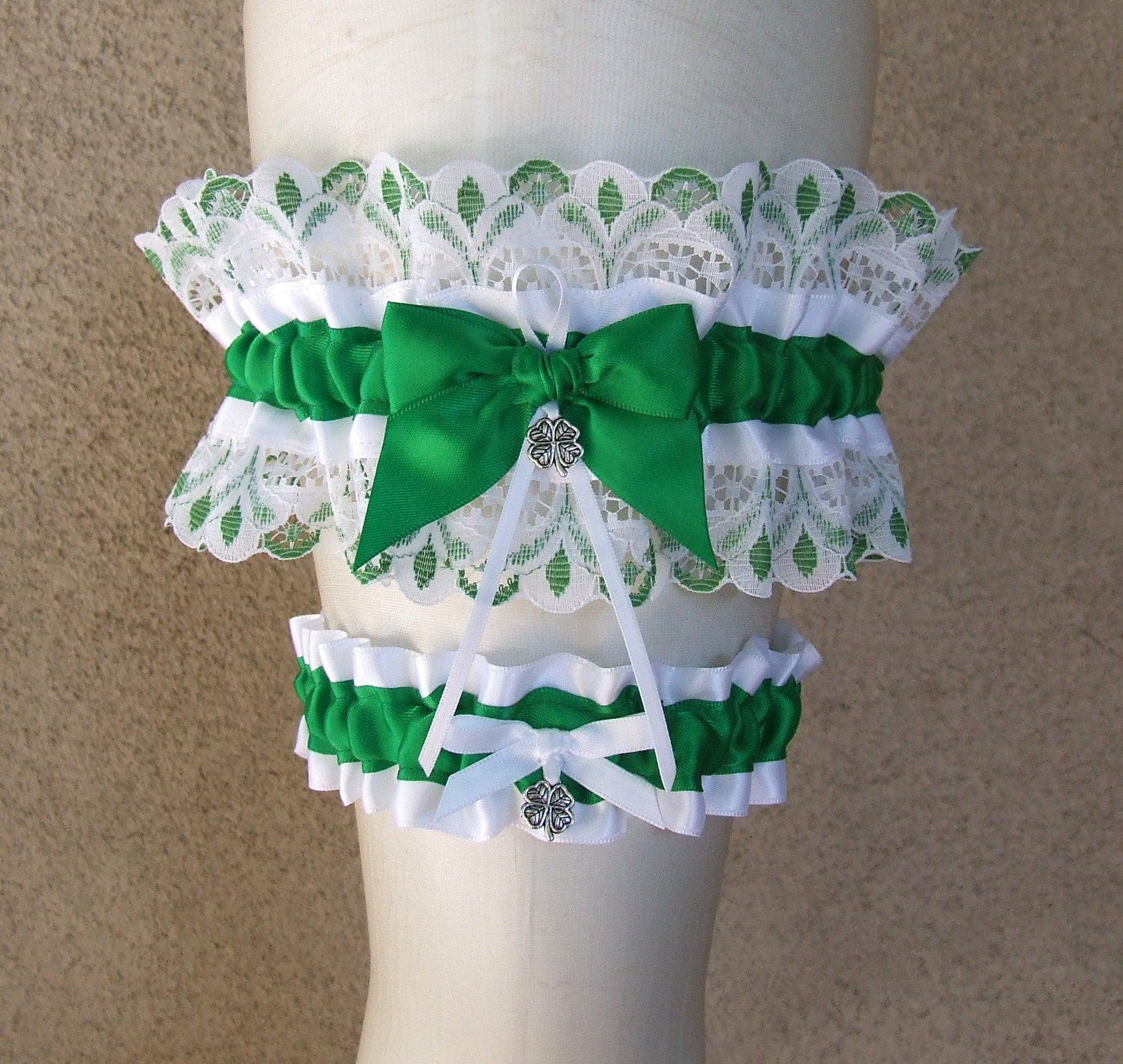 Personalised Emerald Green Handmade Bridal Wedding Garter