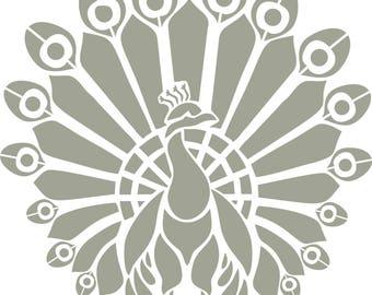 Stencil art deco Peacock