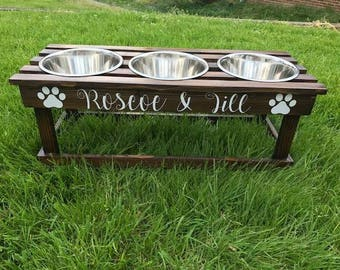 Stained custom TRIPLE bowl elevated feeder / bowl stand / raised dog dish / elevated dog bowl stained with FREE personalization