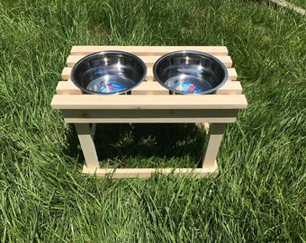 Unstained DOUBLE elevated dog bowl stand / pet feeder / raised dish stand / water bowl / 3 bowl feeder