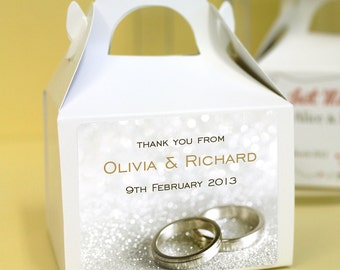 Personalised Wedding Favours / Cup Cake Boxes - Wedding Rings