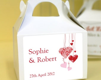 Personalised Wedding Favours / Cup Cake Boxes - Hearts