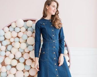 89e09bb584 Modest denim dress
