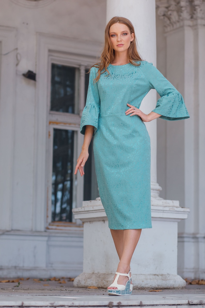 Monique jacquard tiffany blue cotton dress, holiday dress, festive dress with frilled sleeves