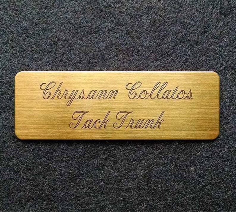 TACK TRUNK PLATE Fancy Elegant Brass 3 x 1 Custom Engraved