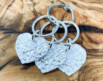 Set of 3 • Silver Plated Heart Jumbo Stitch Markers • Free Shipping • Great Gift for Knitters and Crocheters!