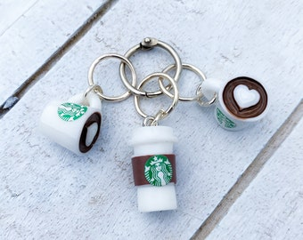 Heart Coffee Mug Stitch Markers • Set of 3 • Free Shipping • Great gift for knitters and crocheters!