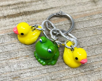 Set of 3 • Ducks and Frog Jumbo Stitch Markers • Free Shipping • Great Gift for Knitters and Crocheters!