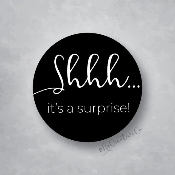 Shhh It S A Surprise Stickers Boy Or Girl Baby Shower Reveal Decal Label Seal Matte Stickers