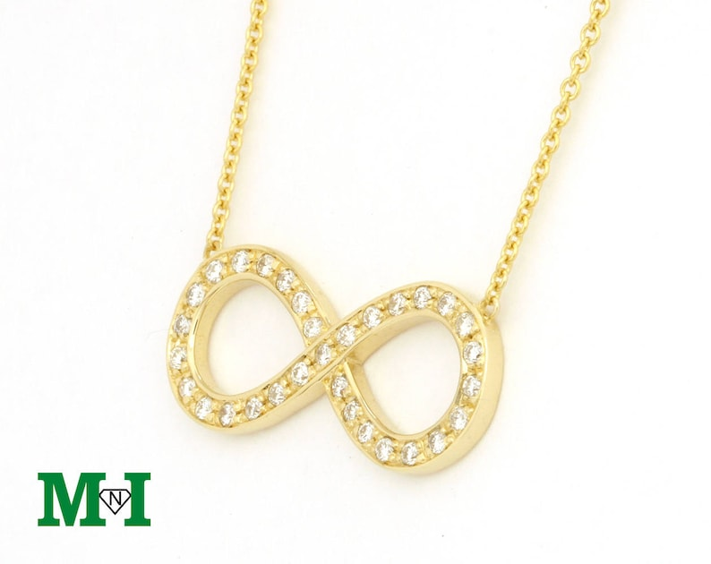 ab6322a8636c5 Infinity Diamond Necklace - 14K Solid Gold and natural diamond will makes  you stylish and trendy