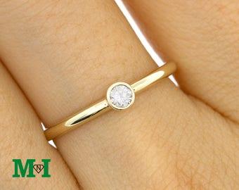 Solitaire Diamond ring,14K Single Diamond Gold Ring,Diamond Solitaire Ring,Bridal Rings,Wedding Rings,Tiny Diamond ring,Thin ring,Thin band