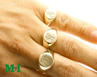Signet Gold Script Rings,10K Ring,14K Solid Gold Ring,Initial Ring,personalized  Engraved Monogram Ring