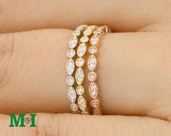 Diamond Wedding Bands,Half Eternity Diamond ring,14K Solid Gold Ring,Bridal Rings,Wedding Rings,Diamond Band,Diamond Engagement ring