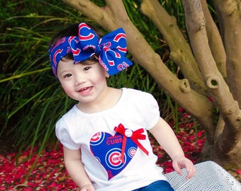 Chicago Cubs Baseball Inspired Glam Headwrap Headband Toddler Bows Big Bow  Infant Little Baby Girl Tied Turban Hair Headbands Newborn 4a31c0179a2