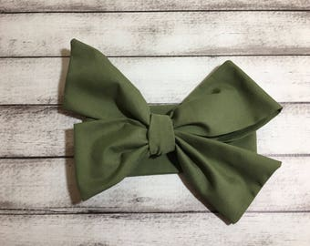 Olive Green Leaf fabric bow headband  clip