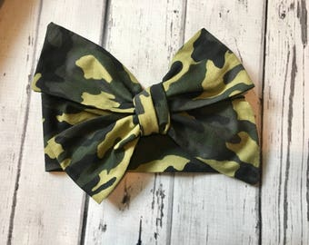 TIED, Camo Headwrap, Camouflage Headwrap,Baby Headband,Toddler,Hunting,  Big Bow Headband, Infant Headwrap, Infant Headwrap, Baby Girl
