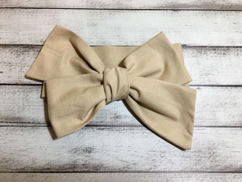 Free Shipping Khaki Headwrap Headband Toddler Bows Big Bow Headbands Turban Newborn Infant Headwraps Little Baby Girl Hair
