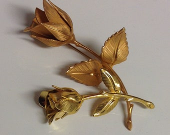 Vintage Rose Brooch Pair | Gold Rose Brooch | Vintage Brooch | Set of Gold Rosebud Brooches