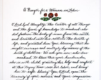 Printable: A Prayer for a Woman in Labor, Orthodox Christian Prayer,  Ancient Prayer, Calligraphy, Watercolor, 8x10