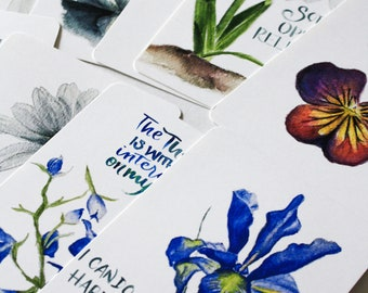 Birth Affirmation Card Set of 9, 4x6 cards, Encouragement for Birth and lsbor, Scripture, Birth flowers, Watercolor, Brush lettering