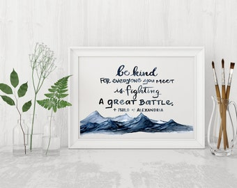 Be Kind, Philo of Alexandria, Art Print, Watercolor painting, Orthodox Christian Quote