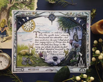 """Charlotte Mason Art Print, Woodland Illustration, """"The question is not,-how much does the youth know?,"""" Homeschooling, Education, Watercolor"""