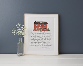 """Middlemarch brick house print, George Eliot, """"But we insignificant people..."""", winter watercolor illustration"""