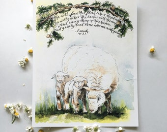 He will gently lead those who are with young, Isaiah 40:11, Mother's Day Print, Lamb illustration, Oak tree branch, Nursery decor