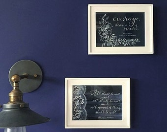 The Navy Set (C.S. Lewis & Julian of Norwich), Courage, dear heart, All shall be well, Watercolor, white text, floral, Inklings