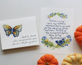 Miscarriage and Infant Loss Set {Print + Card}, Pregnancy Loss, Motherhood, Butterfly, Buttercups, Forget Me Nots, Floral Wreath, Watercolor