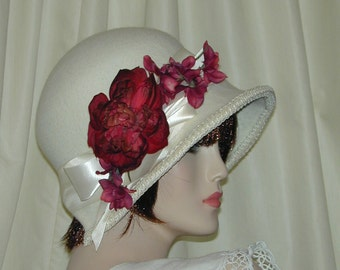 Custom Convertible 6 in 1 cloche w/ floral fascinator- Downton Abbey hat, Miss Fisher, Great Gatsby hat
