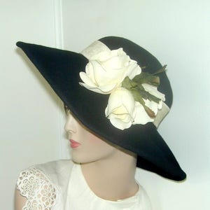 1920s Hat Styles for Women – History Beyond the Cloche Hat Miss Fisher Wide brim convertible posable wool hat $145.00 AT vintagedancer.com